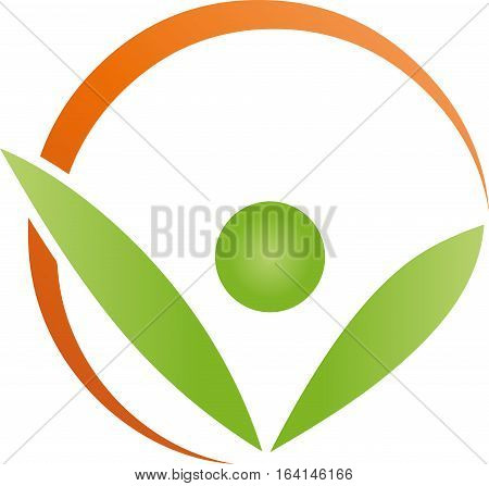 Leaves and circle, person, human, nature and fitness logo