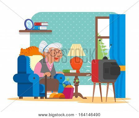 Vector illustration of grandmother sitting in armchair and watching TV. Cat lying behind of her. Cartoon characters and living room interior in flat design.