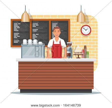 Vector illustration of coffee shop design element with barista standing behind of bar counter, coffee making equipment, utensils, menu. Coffee shop interior and cartoon character in flat design.