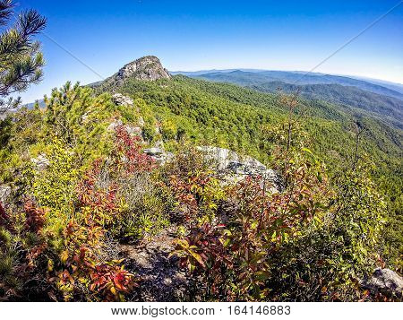 landscape views on top of table rock mountain nc
