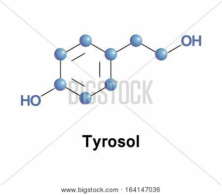Tyrosol is a phenylethanoid, a derivative of phenethyl alcohol. It is a natural phenolic antioxidant. Structure model of molecule made in vector.