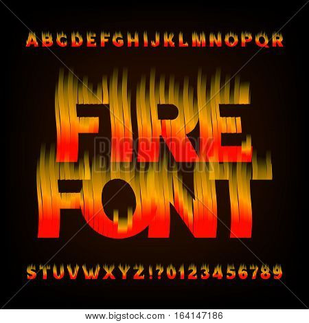 Abstract fire alphabet font. Flame effect letters and numbers on a dark background. Vector typeface for your design.