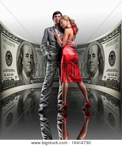 Portrait young beautiful couple. money, 100 american dollars