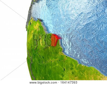 French Guiana In Red