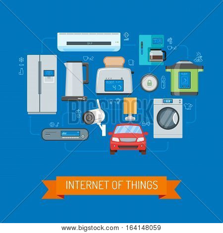 Internet of Things vector concept illustration. Household appliances, consumer electronics, auto icons. Internet of Things lettering on ribbon. Home automation concept design elements in flat style