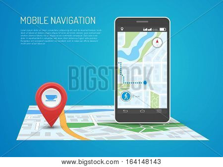 Vector illustration of smartphone with mobile navigation app on screen. Route map with symbols showing location of man. Global Positioning System concept design element in flat style.