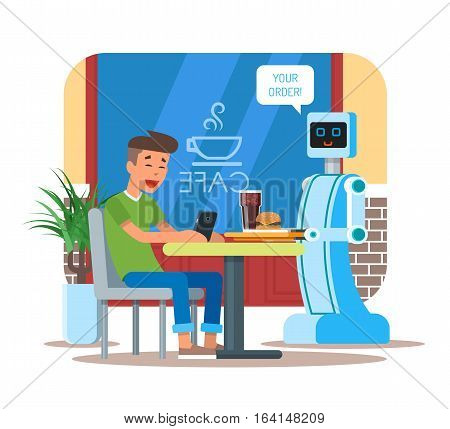 Vector illustration of robot waiter serving cola and hamburger to visitor. Your order speech bubble. Young man with mobile sitting at the table. Cafe interior and cartoon characters in flat design.