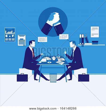 Vector illustration of two businessmen having meeting. Arm wrestling symbol, icon. Business meeting and competition concept design element in flat style.