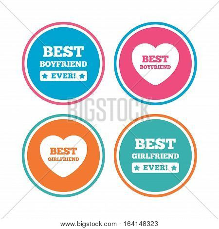 Best boyfriend and girlfriend icons. Heart love signs. Award symbol. Colored circle buttons. Vector