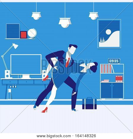 Vector illustration of business partners man and woman. Couple dancing passionate tango. Office interior. Business relationships concept design element in flat style.