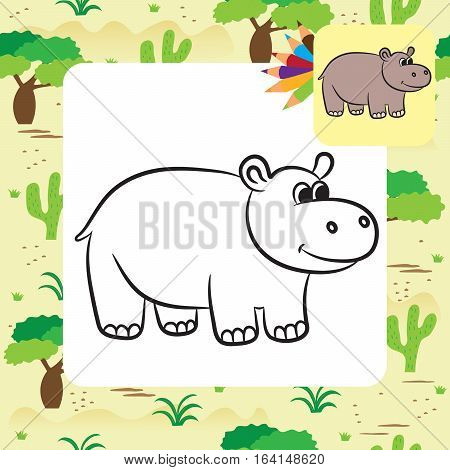 Cute cartoon hippo. Coloring book. Vector illustration