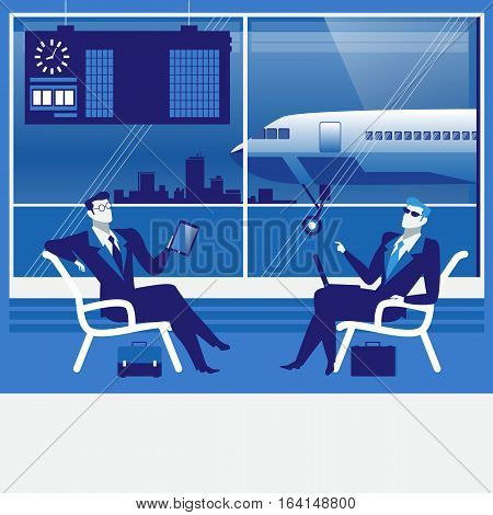 Vector illustration of business people at the airport. Businessmen with tablet, laptop sitting in waiting hall. Business trip, travel by plane concept design element in flat style.