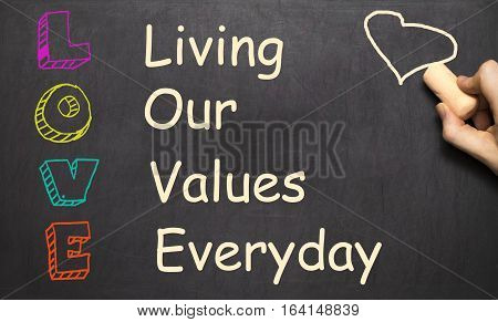 Conceptual Love Acronym Written On Black Chalkboard Blackboard. Living Our Values Everyday