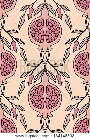 Pink floral pattern. Seamless vector ornament with pomegranate. Stylized template for wallpaper textile linen bedspread curtain shawl tile carpet and any surface.
