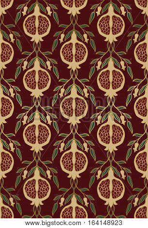 Rich floral pattern. Seamless vector ornament with pomegranate. Stylized template for wallpaper textile linen bedspread curtain shawl carpet and any surface.