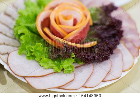 Dinning Table Set With Baked Sliced Ham