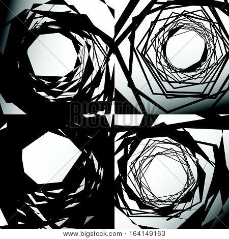 Set Of Edgy Geometric Textures. Random Chaotic Shapes. Abstract Art