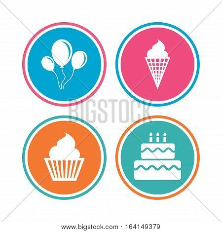 Birthday party icons. Cake with ice cream signs. Air balloons with rope symbol. Colored circle buttons. Vector