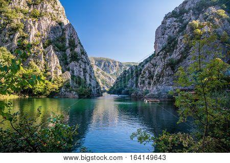 Beautiful view of tourist attraction, lake at Matka Canyon in the Skopje surroundings. Macedonia.