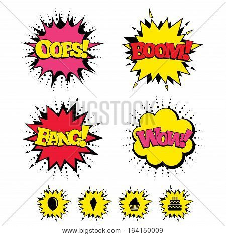Comic Boom, Wow, Oops sound effects. Birthday party icons. Cake with ice cream signs. Air balloon symbol. Speech bubbles in pop art. Vector