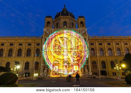 Vienna, Austria - 15 October, 2016: Night View Of Famous Natural History Museum With Park In Vienna,
