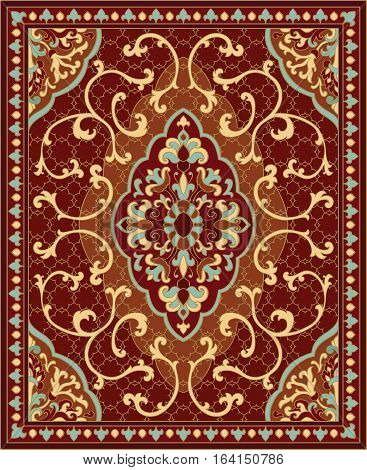 Oriental abstract ornament. Red and blue template for carpet coverlet shawl textile and any surface. Ornamental pattern with filigree details.