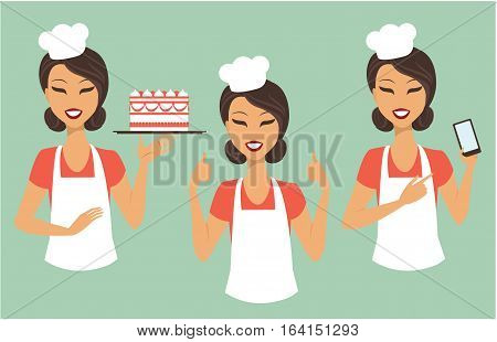 Cartoon girl confectioner with smartphone and holding tray with cake