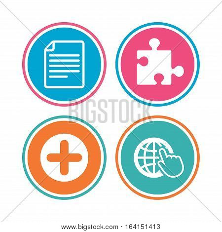Plus add circle and puzzle piece icons. Document file and globe with hand pointer sign symbols. Colored circle buttons. Vector