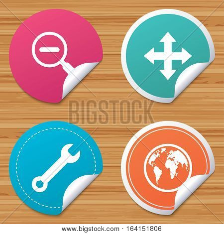 Round stickers or website banners. Magnifier glass and globe search icons. Fullscreen arrows and wrench key repair sign symbols. Circle badges with bended corner. Vector