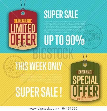 Special limited offer sale sticker isolated vector illustration. Super sale banner, best price tag, exclusive offer discount, advertisement retail label, special shopping ad. Vintage style offer sign