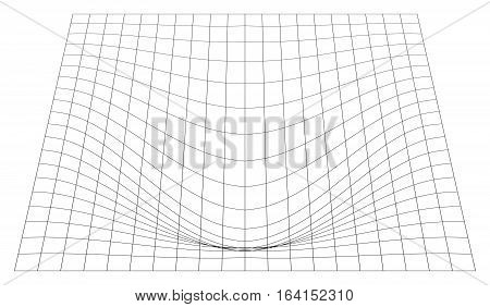 Bent Grid In Perspective. 3D Mesh With Convex Distortion