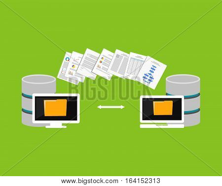 Copying files process. Files transfer between devices. Import or export data from another database.