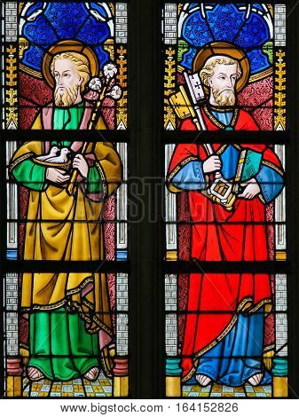 Stained Glass - Saint Joseph And Saint Peter
