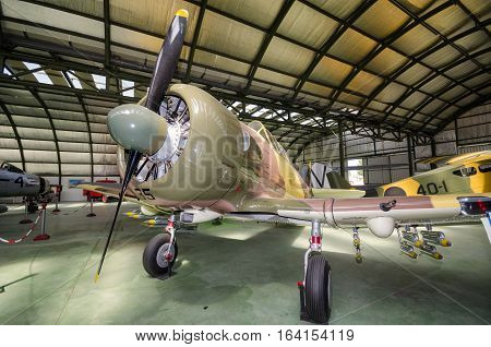 Madrid Spain - September 5 2015: Interior of an hangar with some rare vintage interceptor airplanes on September 52015 in Madrid air museum Spain.
