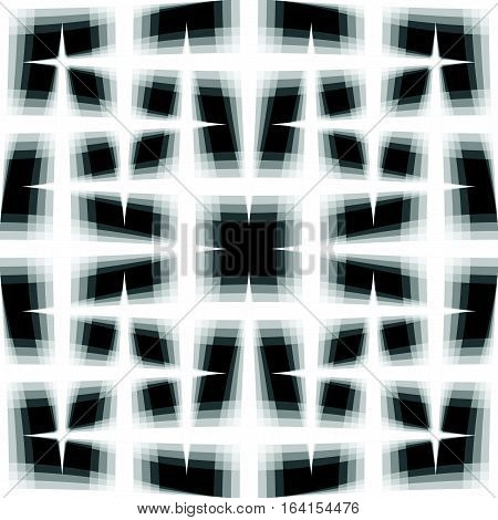 Monochrome Seamless Pattern Of Interlaced Fading Lines. Grid, Mesh Seamlessly Repeatable Background