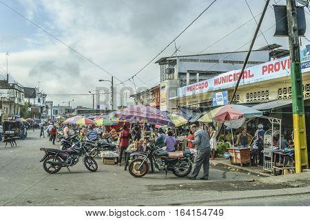 GUAYAS, ECUADOR, FEBRAURY - 2016 - Urban scene at small town in Guayas province Ecuador South America