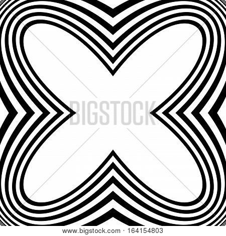 Radial Geometric Graphic With Distortion Effect. Irregular Radiating Lines Pattern. Abstract Monochr