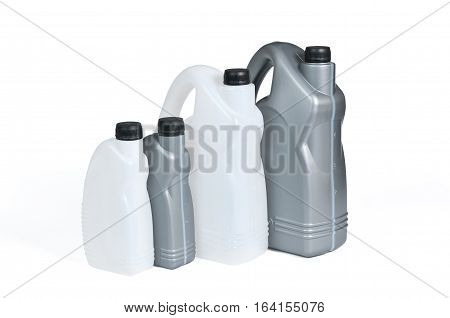 Plastic canisters for machine oil isolated on white background.