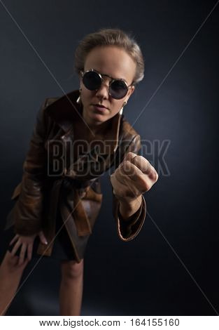 Woman In Sunglasses , Conceptual Image On The Subject Of Domestic Violence