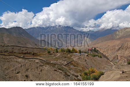 View from Jomson on valley. Annapurna cirkut trek. The most beautiful trekking on the Himalaya mountains