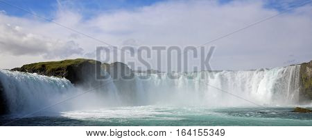 Panoramic View of Godafoss Waterfall in Iceland