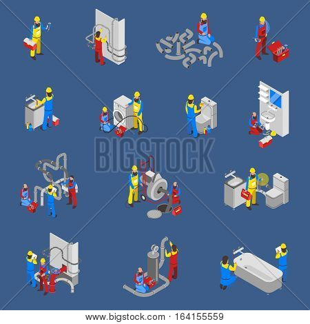 Colored and isolated plumber isometric people icon set with at the workplace in uniform vector illustration