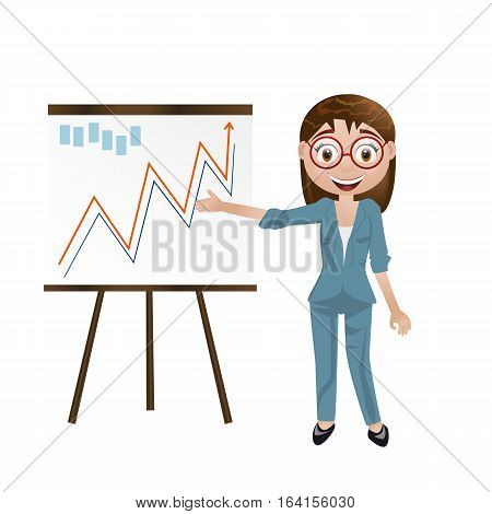 Business Woman Next Chart Board. Indicates. Explains. Conducts Successful Girl Lecture. For Your Des