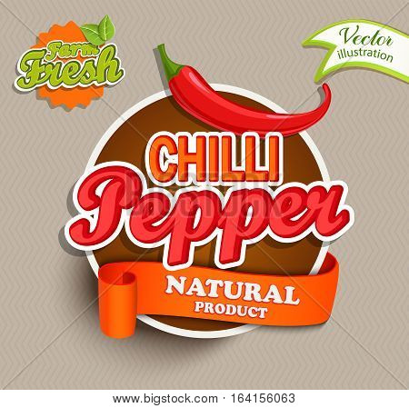 Chilli pepper logo lettering typography food label or sticker. Concept for farmers market, organic food, natural product design.Vector illustration.