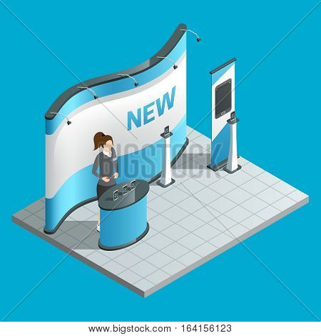 Exhibition isometric stand with female promoter and ad bilboard vector illustration