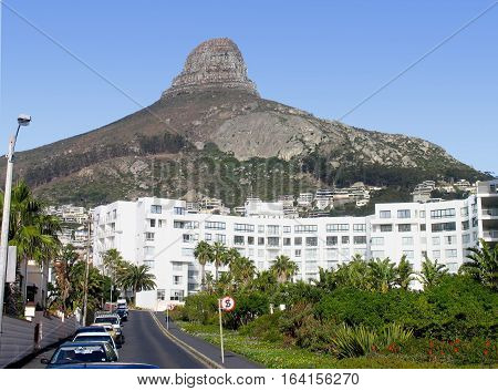 THIS IS BANTRY BAY, WITH SIGNAL HILL IN BACK GROUND, CAPE TOWN SOUTH AFRICA