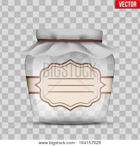 Glass Jar for canning and preserving with cloth cover and sticker label. Vector Illustration isolated on transparent background.