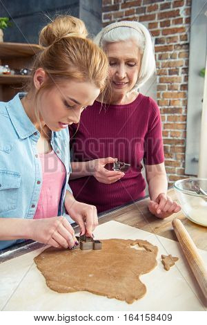 Grandmother and her granddaughter making gingerbread cookies for Christmas