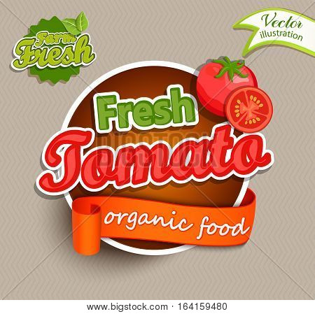 Fresh Tomato logo lettering typography food label or sticer. Concept for farmers market, organic food, natural product design, juice, sauce, ketchup. Vector illustration.