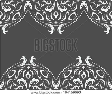 Damask seamless classic pattern. Vintage Baroque delicate background. Classic damask ornament for wallpapers textile fabric wrapping wedding invitation. Exquisite floral baroque template